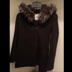 Maralyn & Me • Faux Fur Trim Asymmetrical Jacket